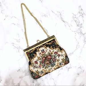 Vintage Floral Knit Embroidered Clasp Mini Purse